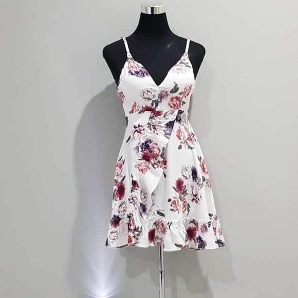 White Floral Tie Back Ruffle Dress New!